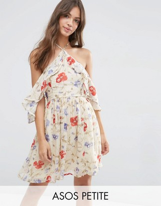 ASOS Petite ASOS PETITE Cold Shoulder Mini Dress with Ruffle Sleeve in Vintage Floral Print $62 thestylecure.com