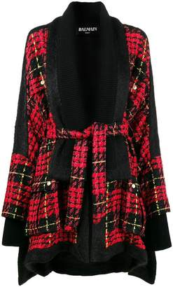 Balmain belted checked cape coat