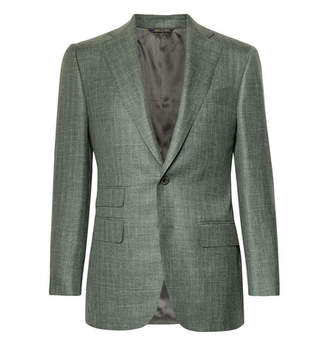 Thom Sweeney Grey-Green Wool, Silk And Linen-Blend Blazer