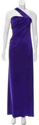 Halston One-Shoulder Ruched Evening Dress