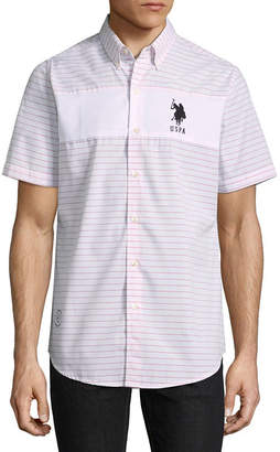 U.S. Polo Assn. USPA Short Sleeve Stripe Button-Front Shirt