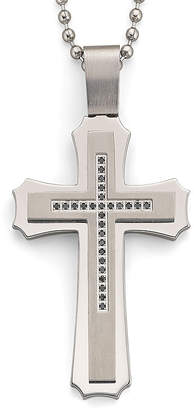 Black Diamond FINE JEWELRY .15 ct. t.w. Steel Cross Pendant Necklace
