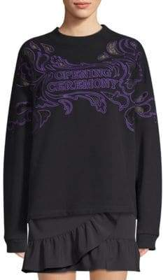Opening Ceremony Lace Applique Cotton Sweatshirt