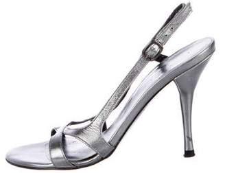 Stuart Weitzman Metallic Leather Strap Sandals