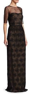 David Meister Women's Illusion Neckline Column Gown