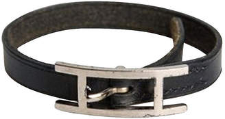One Kings Lane Vintage HermAs Black Leather Single Bracelet