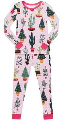 BedHead Girl's Christmas Cactus-Print Pajama Set, Size 2-8
