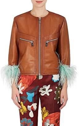 Prada Women's Feather-Embellished Leather Jacket