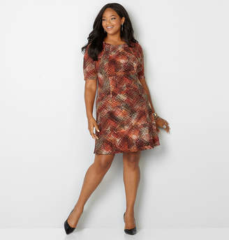 Avenue Autumnal Print Fit and Flare Dress