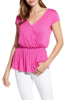 Gibson x Hot Summer Nights Almost Ready Smocked Jersey Peplum Top