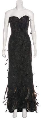 Oscar de la Renta Silk & Ostrich Feather Gown