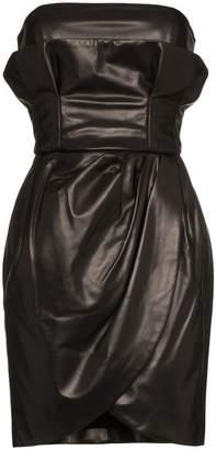 Versace strapless leather mini dress