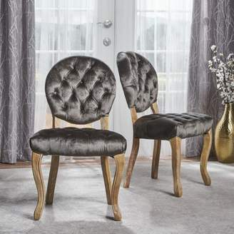 Noble House Adele Tufted Velvet Dining Chairs, Set of 2, Grey, Natural
