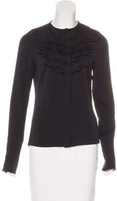 Alice + Olivia Silk Ruffle-Accented Top