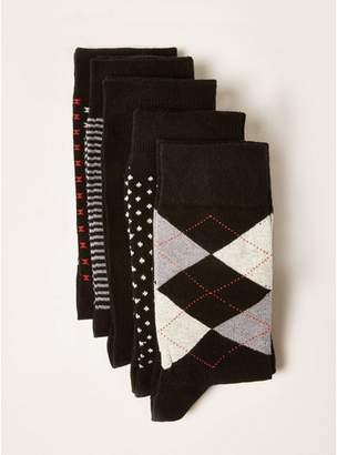 Topman Mens Black Assorted Pattern Socks 5 Pack