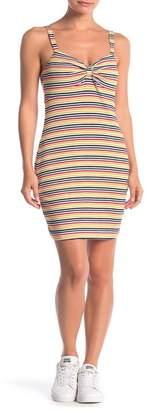 Lush Gathered Stripe Print Mini Dress