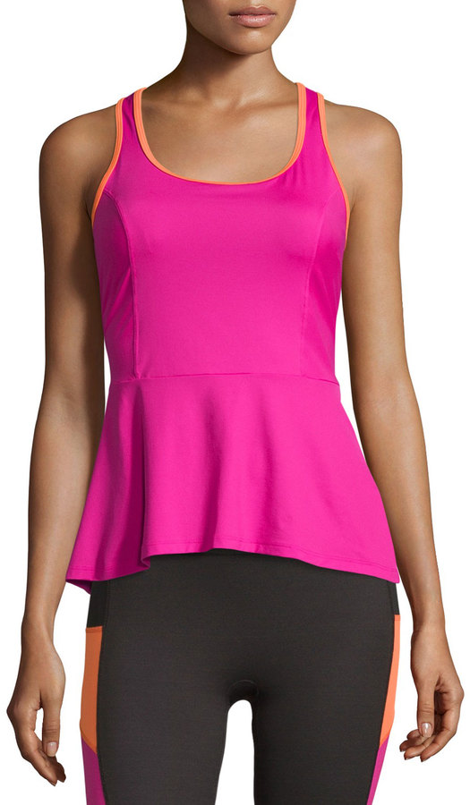 Spanx Active Long Bra Peplum Tank, Pink Power