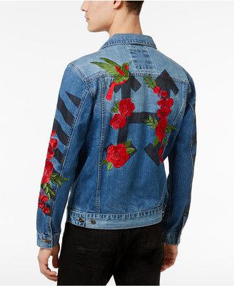 Hudson NYC Men's Embroidered Rose Denim Jacket $165 thestylecure.com