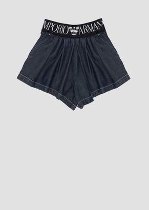 Emporio Armani Denim Shorts With Stretch Logo Waist Band