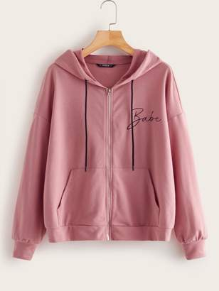 Shein Letter Print Pocket Front Zip Up Hoodie