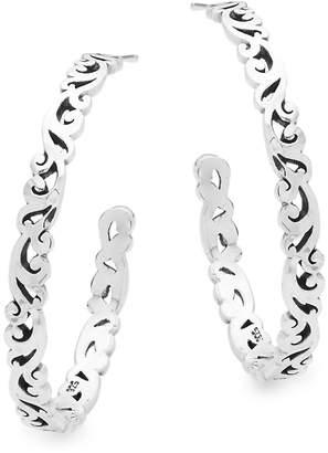 Lois Hill Women's Sterling Silver Cutout Hoop Earrings