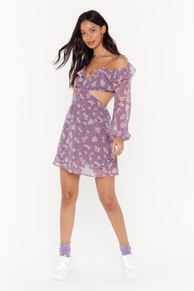 Nasty Gal Womens Make A Little Bloom For Me Floral Mini Dress - Purple - 6
