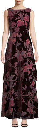 Tahari ASL Velvet Burnout Tiered Evening Gown