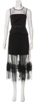 Three floor Lace-Trimmed Maxi Dress w/ Tags