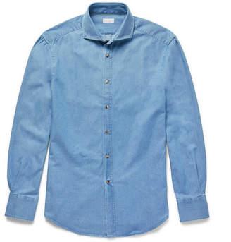 Brunello Cucinelli Slim-Fit Cutaway-Collar Washed-Denim Shirt - Men - Mid denim