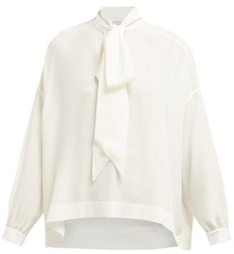 Balenciaga Fluid Vareuse Silk Crepe V Neck Blouse - Womens - White