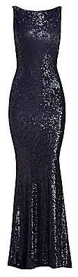 Naeem Khan Women's Cowl Back Sleeveless Sequined Gown