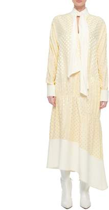 Tibi Dot Jacquard Tie Neck Paneled Dress