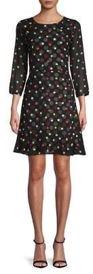 Karl Lagerfeld Paris Polka Dot A-Line Dress