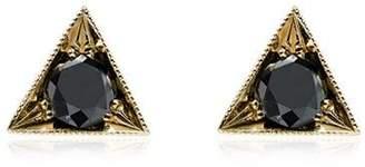Black Diamond Lizzie Mandler Fine Jewelry 18k gold triangle studs with