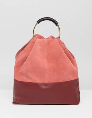 Asos DESIGN suede and leather mix grab shopper bag