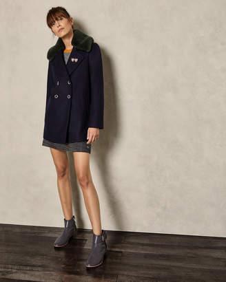 Ted Baker GAITA Removable faux fur collar wool pea coat