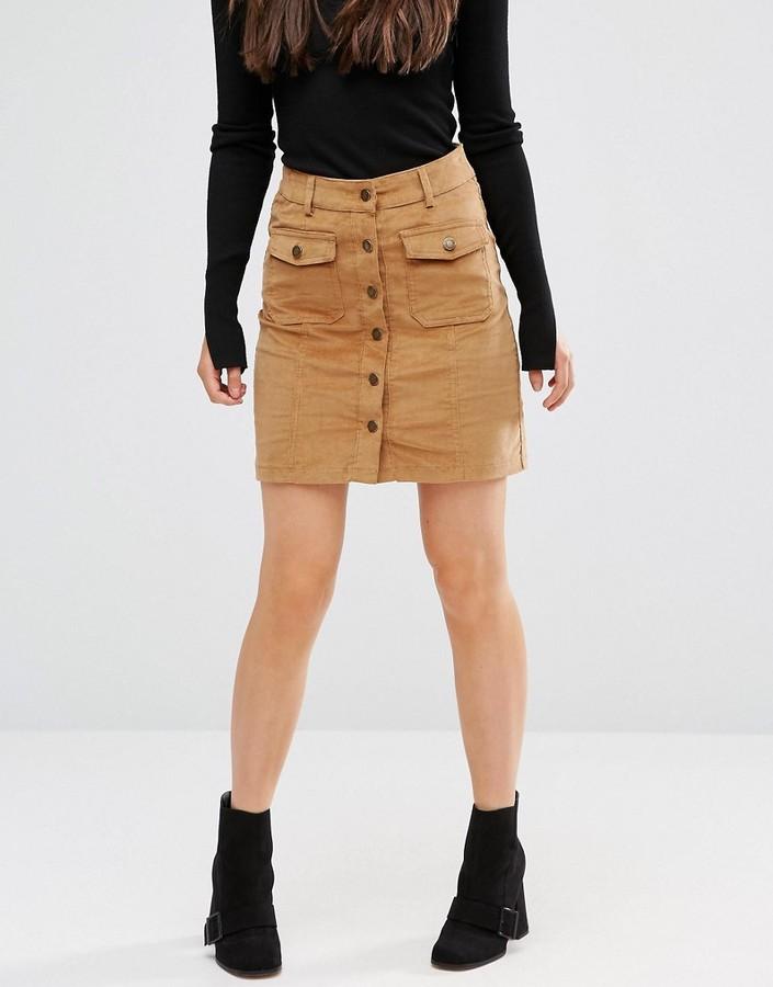 brave soul buttoned cord skirt shopstyle co uk