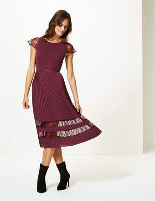Marks and Spencer Lace Short Sleeve Skater Midi Dress