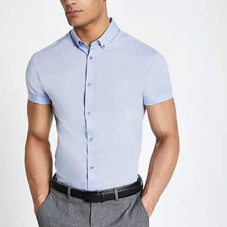 River Island Mens Light Blue muscle fit short sleeve shirt