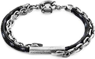 ANCHOR & CREW - Black Belfast Silver & Rope Bracelet