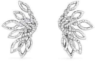 David Yurman Continuance Climber Earrings With Diamonds In 18K White