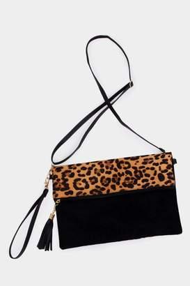 Embellish Leopard Fold-Over Bag