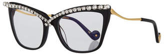 Anna-Karin Karlsson Lusciousness Divine Cat-Eye Crystal Optical Frames, Black