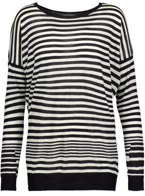 Vince Striped Cotton Silk And Cashmere-Blend Sweater