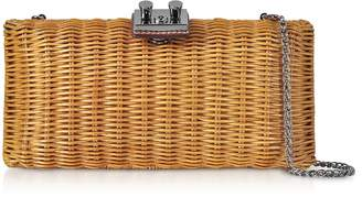 Rodo Natural Wicker and Leather Clutch