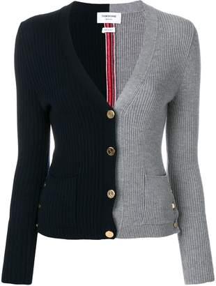 Thom Browne Half-and-half Rib Knit V-neck Wool Cardigan