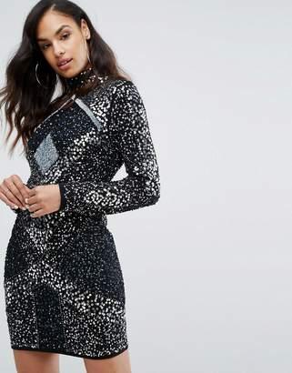 Starlet High Neck Mini Dress with Geometric Embellishment