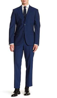 John Varvatos Notch Collar Flat Front Pants Slim Fit Solid 2-Piece Suit