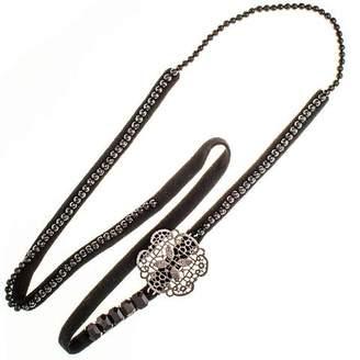 Black Rana Bronze, Agate and Cashmere Necklace