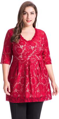 6ec4d136225 Chicwe Women s V Neck Full Lined Lace Plus Size Tunic Top 2X